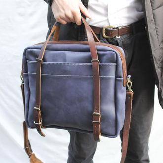 Кожаная мужская сумка через плечо Бизнес сумка.Кожан для ноутбука .