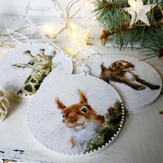 Новогодние елочные игрушки - веселые зверюшки
