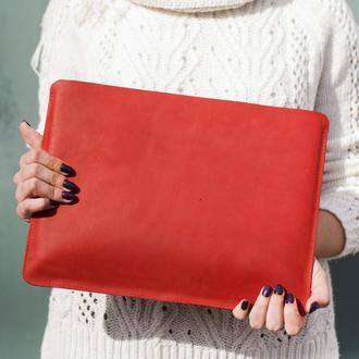 Кожаный чехол для Macbook красный