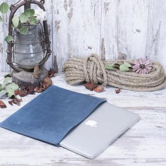Кожаный чехол для Macbook голубой