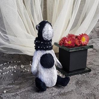 Тедди панда медведь  Люцерна  натуральный ирис кварц,хрусталь