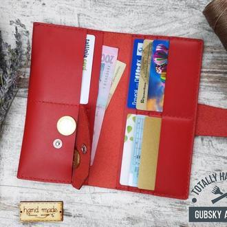 Кошелёк женский клатч  из натуральной кожи с отделами для монет карт денег и телефона