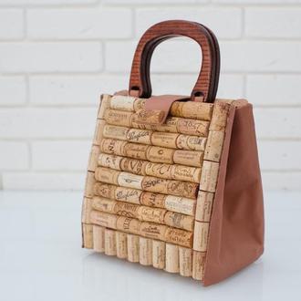 Сумка для любителей вина, женская сумка из пробки , стильный ЭКО аксессуар