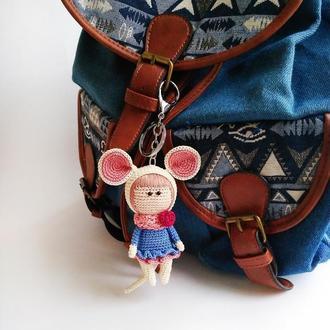Вязаный брелок кукла Белая мышка, украшение для рюкзака, подарок на Новый год, символ 2020 года