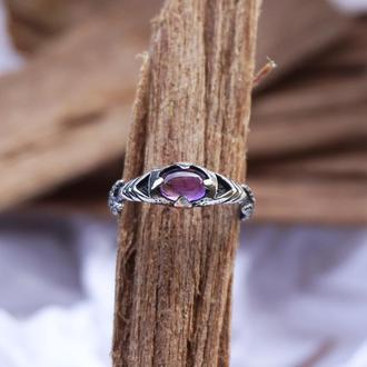 Мужское серебряное кольцо 'ARGO' | кольцо с Аметистом | мужское кольцо с камнем