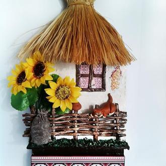 """Настенная ключница домик в украинском стиле """"Ласкаво просимо"""""""