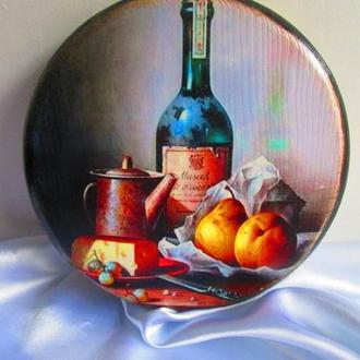 Сервировочная кухонная доска для подачи ′Натюрморт′, сырная, разделочная