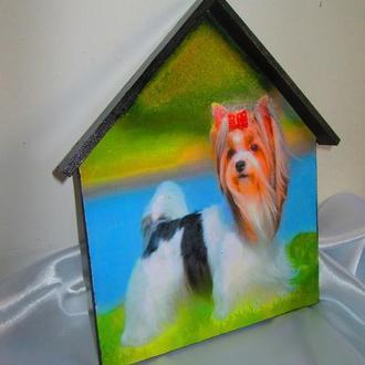 Настенная вешалка для поводка, ошейника,подарок собачнику,йокшерский терьер
