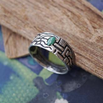 Мужское серебряное кольцо 'VERT' | кольцо с Малахитом | мужское кольцо с камнем