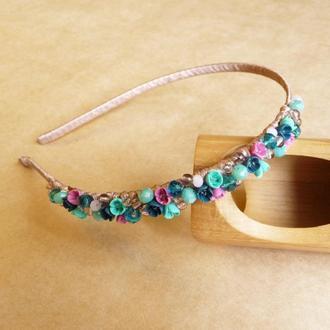 Бирюзово розовый обруч с цветами, украшение для волос, подарок девочке
