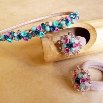 Бирюзово розовый комплект украшений с цветами для девочки, обруч и пара резинок, подарочный набор