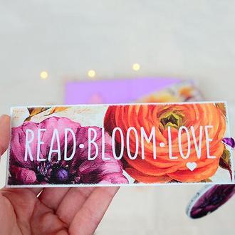 Закладка для книг ручної роботи Read - Bloom - Love