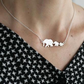 Серебряная подвеска Мама и слонята