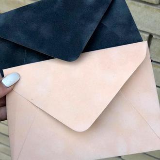 Бархатный конверт С6 пудровый