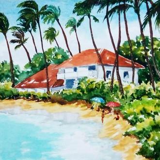 """Стильная акварель миниатюра """"Гавайи. Остров Кауаи"""""""