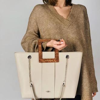 Стильная женская сумка FIGLIMON SHOPPER| бежевая