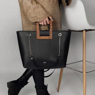 Женская сумка на зиму FIGLIMON SHOPPER| черная