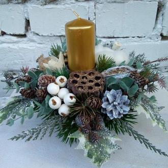 Рождественская композиция, композиции на стол, украшения стола, подсвечник