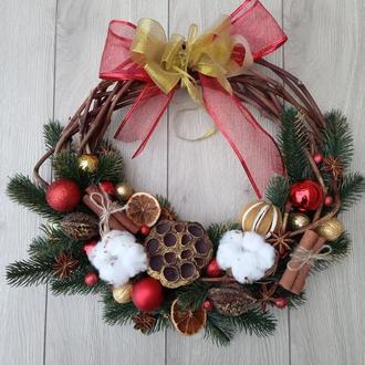 Классический рождественский венок на дверь 40 см