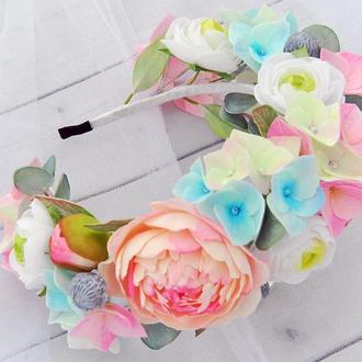 Цветочный ободок для волос в пастельный тонах Украшение в прическу для девочки Обруч с пионами
