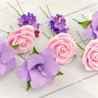 Свадебные шпильки для волос лилии,розы и сирень.Цветочные шпильки в прическу невесты или девочки