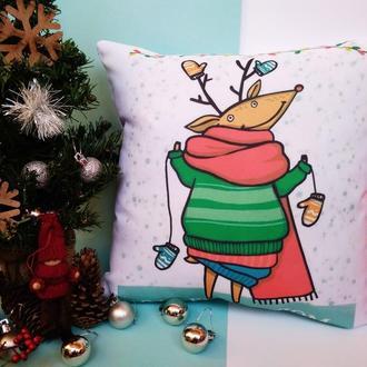 Подушка олень Киев, новогодняя подушка Киев, подарок на новый год, подушка олень Днепр