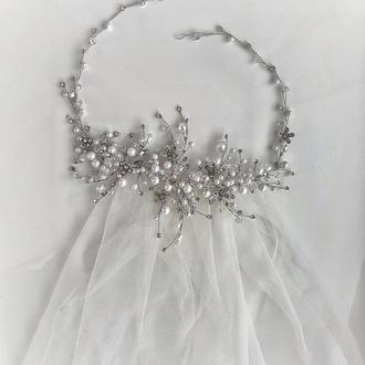 Свадебное украшение для волос,  веточка в прическу, ободок у волосы, украшения для невесты