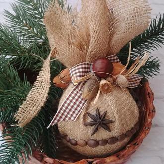 Новогодний шар из мешковины с кофе, специями, сухоцветами в эко стиле Новогодний эко декор