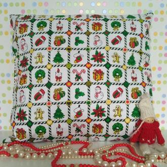 подушка +наволочка Новогодний принт
