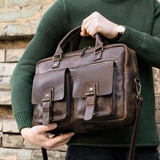 Коричневая мужская сумка мессенджер BAFFETT, Кожаный портфель для документов на плечо