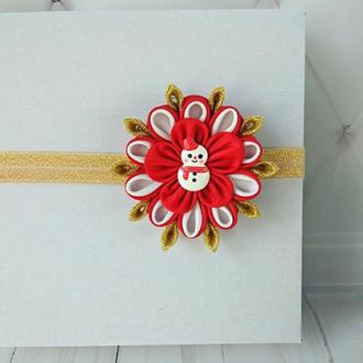 Новогодняя повязка на голову малышке Украшение для волос на Новый год Подарок на Рождество