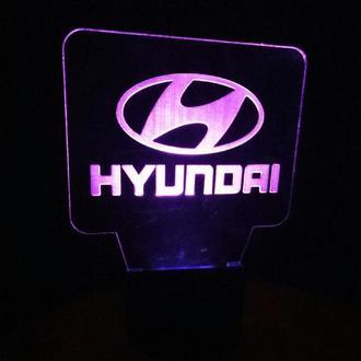 Ночник Хендай, Хюндай, Хенде лого Hyundai, 3д светильник лампа, подарок водителю, автомобилисту