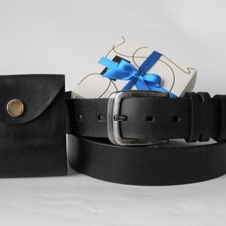 Мужской подарочный набор ремень и кошелек черный