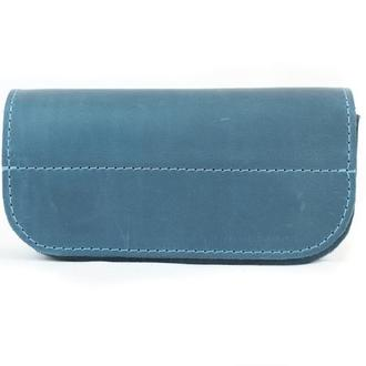 Кожаный чехол для очков на магнитах. 02001/голубой