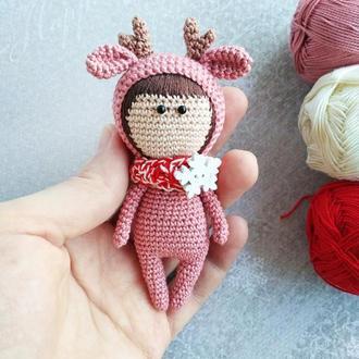 Вязаный брелок Олень, украшение для рюкзака, украшение на сумку, вязаная кукла Олененок