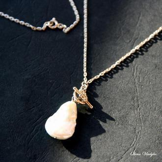 Серебряная подвеска с жемчиной, колье с жемчугом, ювелирное колье, подарок девушке