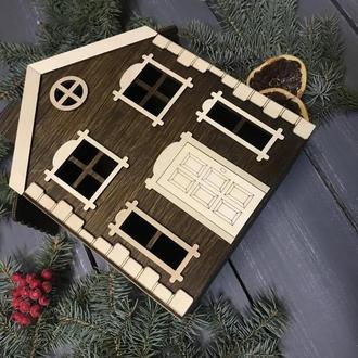 Деревянная подарочная упаковка, коробка, домик, новогодний подарок