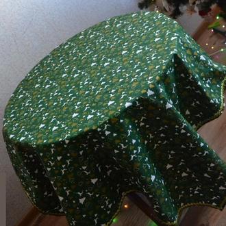 скатерть новогодняя зеленая с золотой тесьмой Новый год