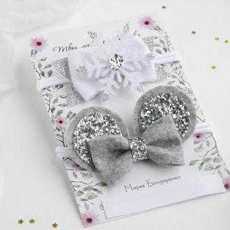 Зимний набор повязок для девочки / Серебристые повязки на новый год для малышки