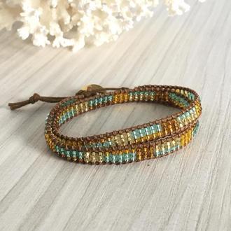 Коричневый бисерный браслет, браслет Чан Лу из бисера, браслет обмотка в стиле Chan Luu