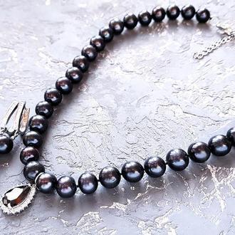 Натуральные черные жемчужины высокого класса роскошный комплект ожерелье серьги подарок новый год жене
