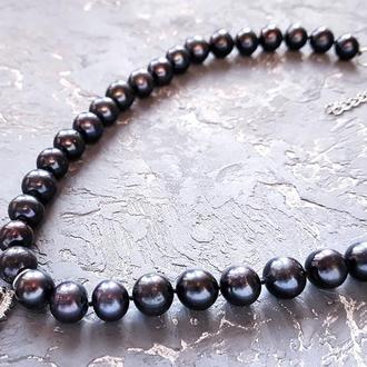 Натуральні чорні перли високого класу розкішне намисто чи колье подарунок на новий рік дружині