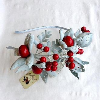 """Обруч для волос с цветами и ягодами """"Зимние ягоды физалиса"""""""