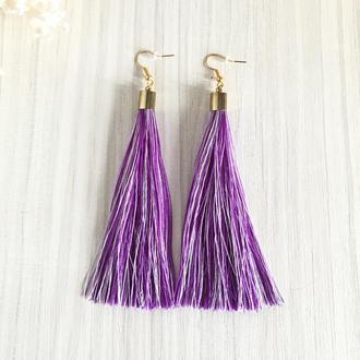 Меланжевые фиолетовые серьги кисточки