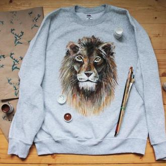 Теплый свитшот с рисунком ′Лев′