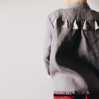 Винтажная льняная рубашка детская, унисекс, с воротником стойкой