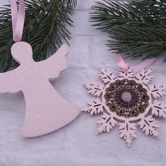 Рождественский ангел на елку и снежинка Набор новогодних игрушек из дерева