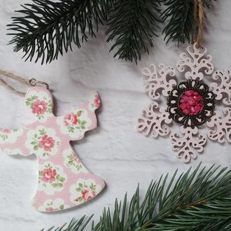 новогодние игрушки Набор елочных игрушек Рождественский ангел снежинка