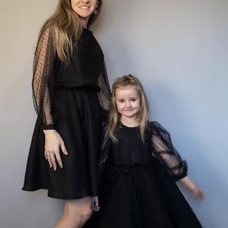 Маленькое чёрное платье для мамы и дочки / пышное платье для девочки / вечернее платье