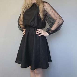 Маленькое чёрное платье / маленька чорна сукня / вечiрня сукня / женское льняное платье